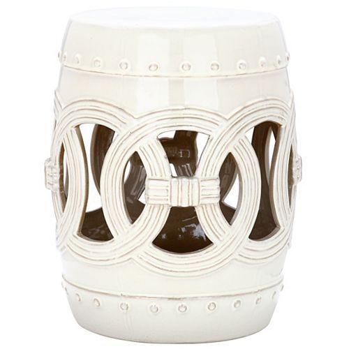 Tabouret en ceramique Double Coin en finition Crème