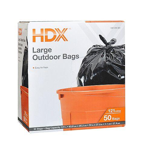 Grands sacs poubelles d'extérieur HDX, 121 L, 50/paq.