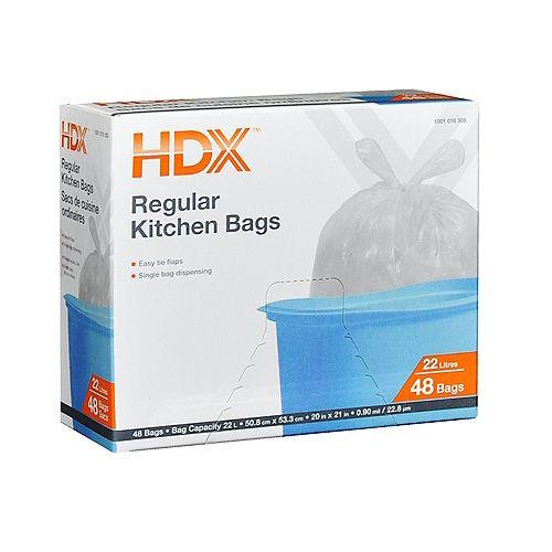 HDX Sacs de cuisine ordinaires 22L 48 Sacs
