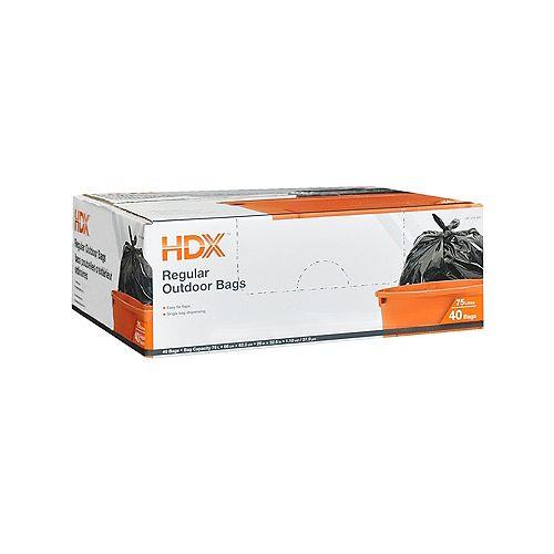 HDX Sacs poubelles d'exterieur ordinaires 75L 40 Sacs