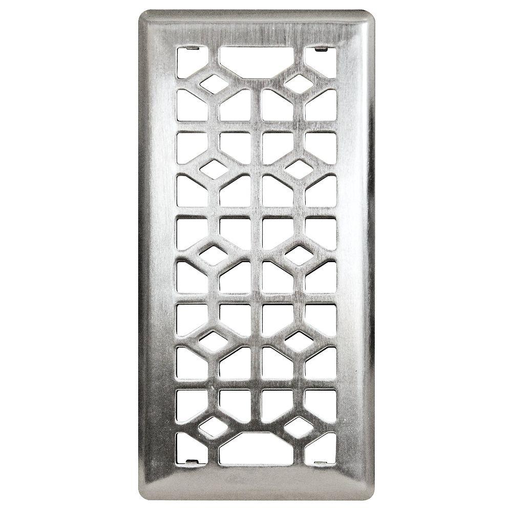 Hampton Bay 4-inch x 10-inch Abstract Steel Floor Register in Brushed Steel