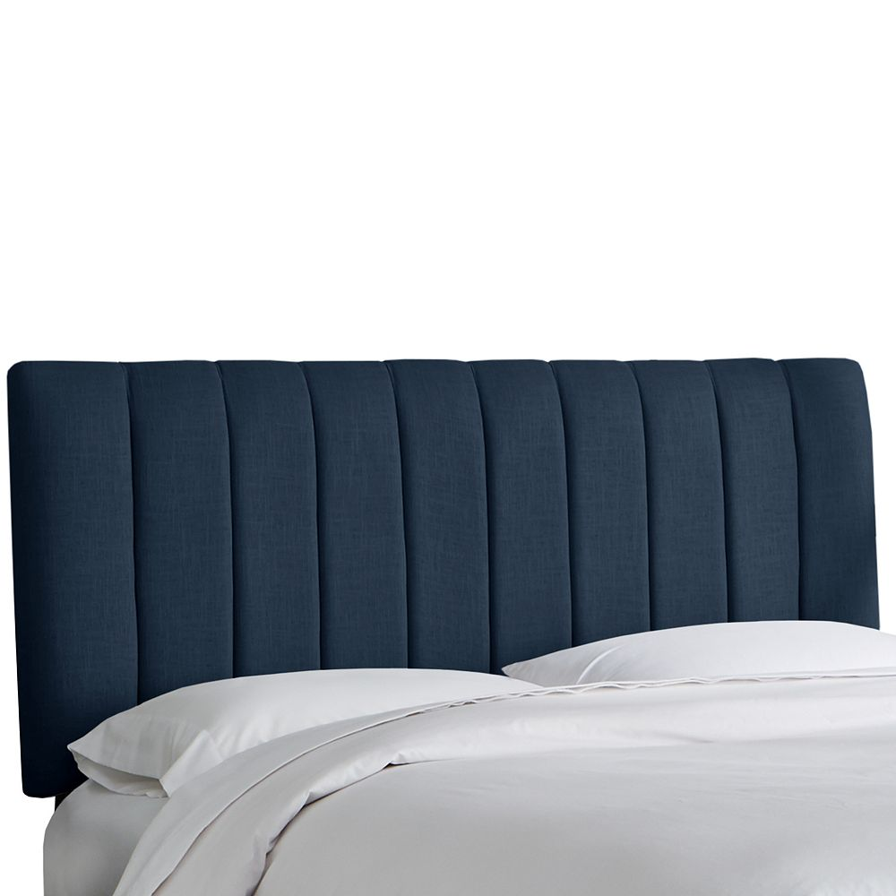 Skyline Furniture Queen Channel Seam Headboard In Linen Navy