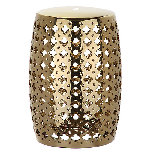 Lacey Patio Stool in Plated Gold