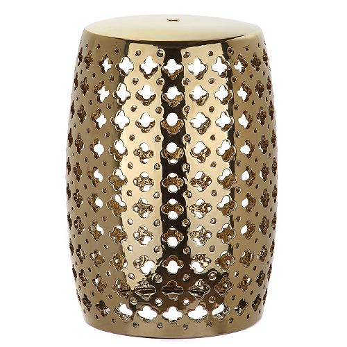 Safavieh Lacey Patio Stool in Plated Gold