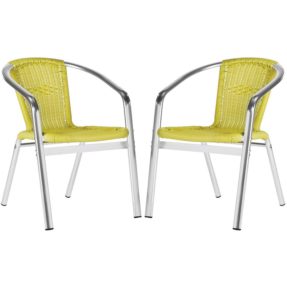 Safavieh Wrangell Indoor/Patio Stacking Arm Chair in Green (2-Pack)
