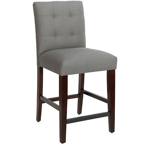 Solid Wood Grey Traditional Full Back Armless Bar Stool with Grey Linen Seat