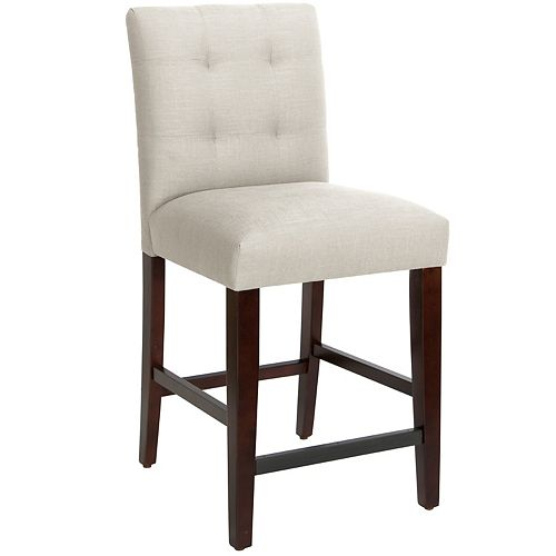 Solid Wood White Traditional Full Back Bar Stool with Natural Linen Seat