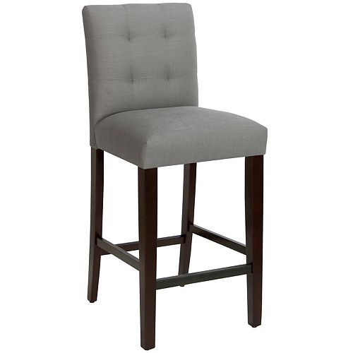 Solid Wood Grey Traditional Full Back Bar Stool with Grey Fabric Seat