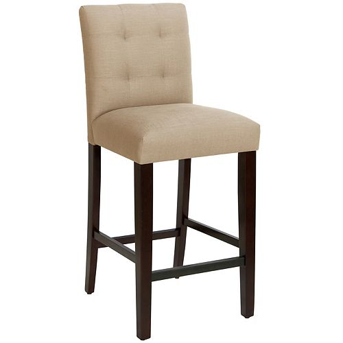 Solid Wood Oak Traditional Full Back Armless Bar Stool with Beige Fabric Seat