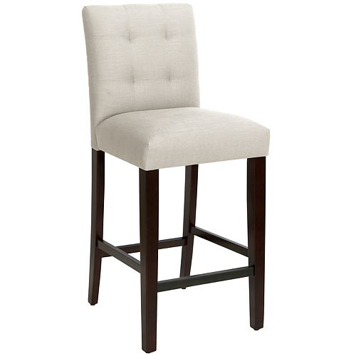 Solid Wood White Traditional Full Back Armless Bar Stool with White Solid Wood Seat