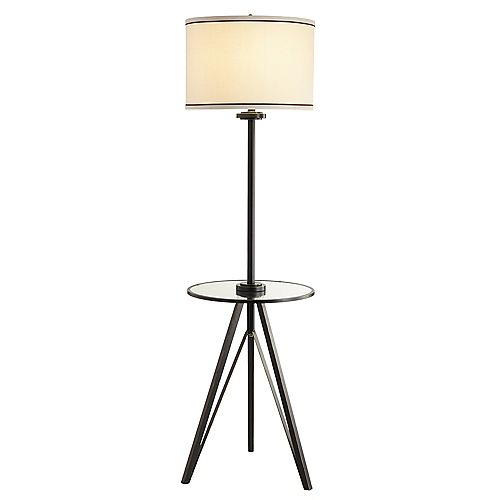 60-inch Floor Lamp in Bronze with Beige Shade and Glass Table