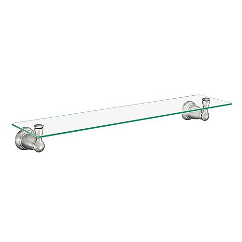 Banbury 22.75-inch W Glass Shelf in Brushed Nickel