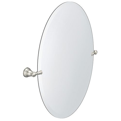 Banbury 26-inch x 23-inch Frameless Pivoting Wall Mirror in Brushed Nickel