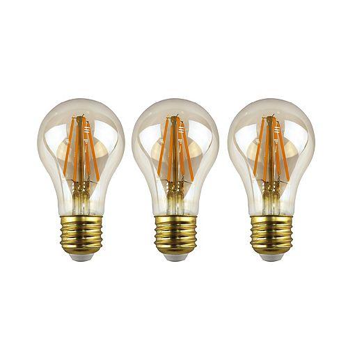Ecosmart Ampoule DEL à int. var. à filament en verre antique A19, équiv. de 60 W, 2 200 K, ambré, ens. de 3