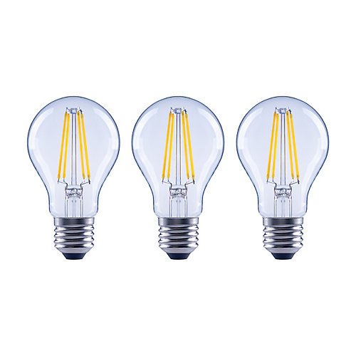 60W Equivalent Soft White (2700K) A19 Dimmable LED Light Bulb with Classic Glass Filament (3-Pack)