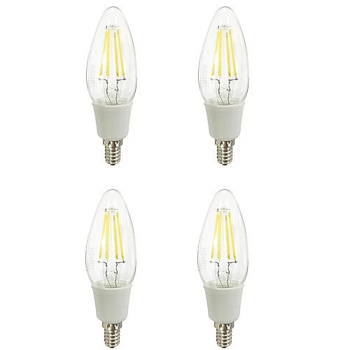 Ecosmart C35 Classic Glass Filament 40watts 470 Lumens Dimmable Daylight (4-Pack) - ENERGY STAR