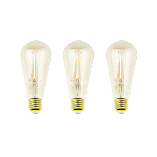 60W Equivalent Amber ST19 Dimmable LED Light Bulb with Antique Glass Filament (3-Pack) - ENERGY STAR