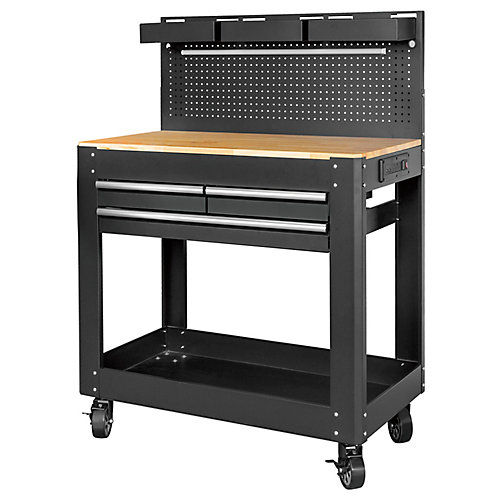 Deluxe 3-Drawer Work Bench with Pegboard Backing