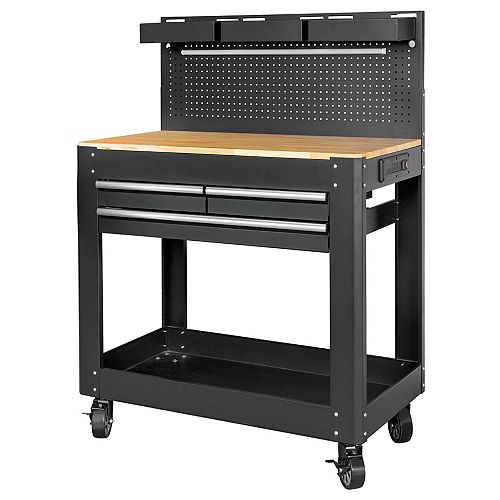 Deluxe 3-Drawer Rolling Work Bench with Wood Top and Pegboard Backing in Black