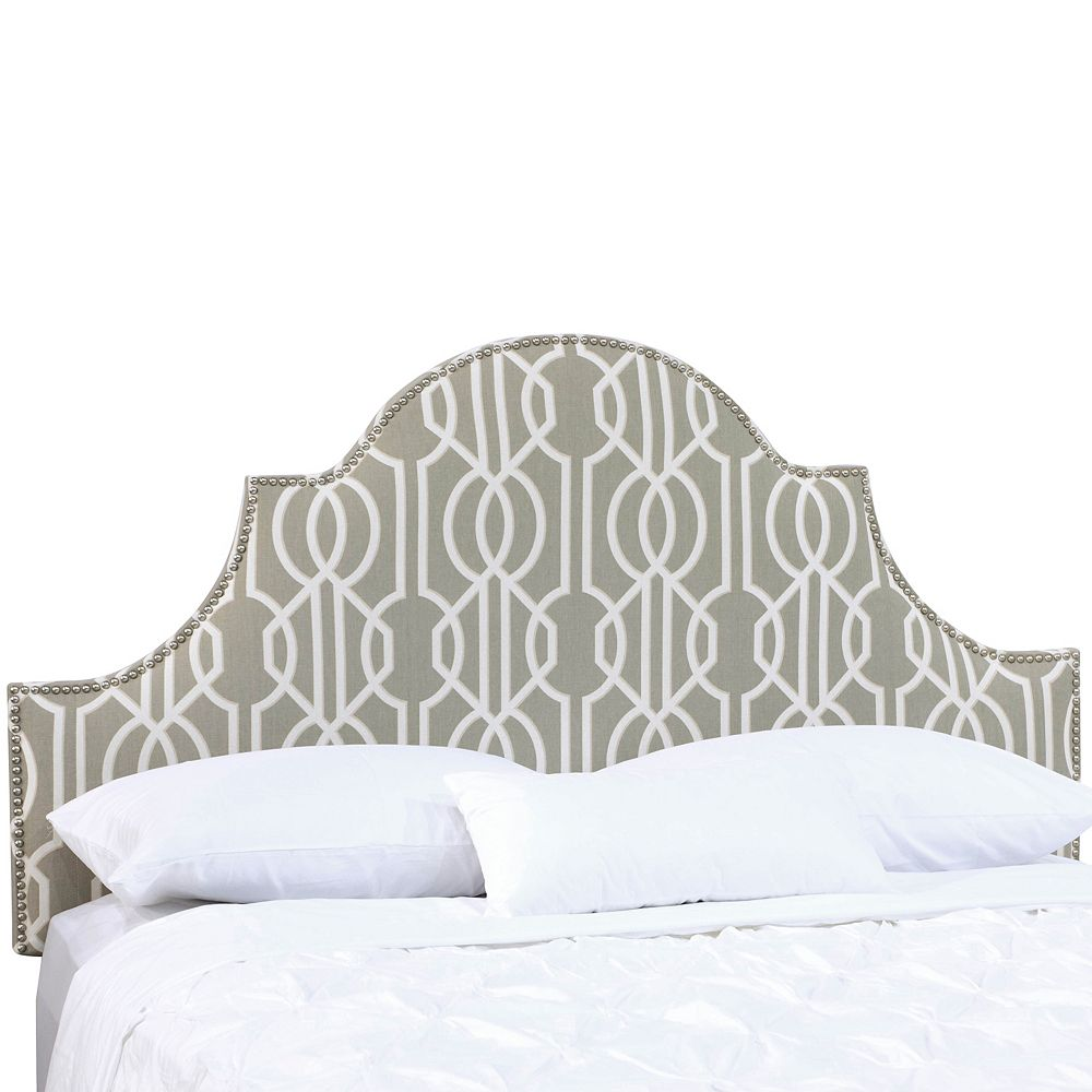Skyline Furniture King Nail Button High Arch Notched Headboard In Deco Slate