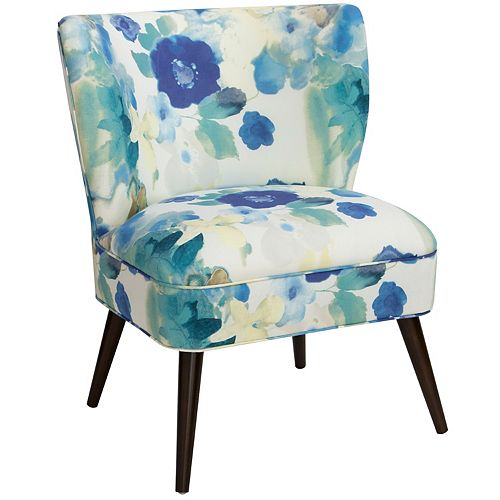 Contemporary Slipper Accent Chair in Blue with Floral Pattern