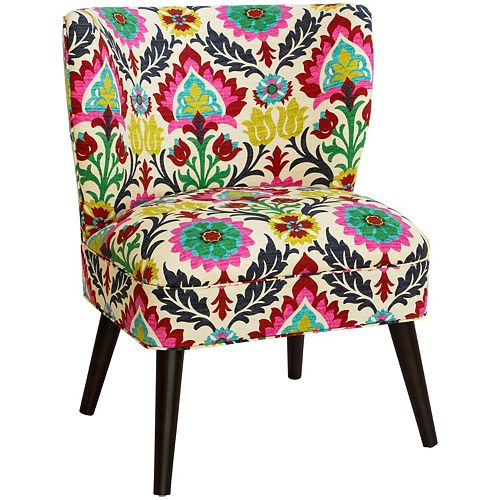 Contemporary Slipper Accent Chair with Floral Pattern