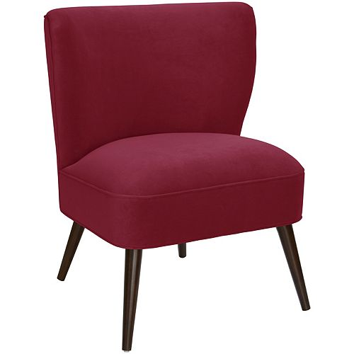 Contemporary Slipper Velvet Accent Chair in Red with Solid Pattern