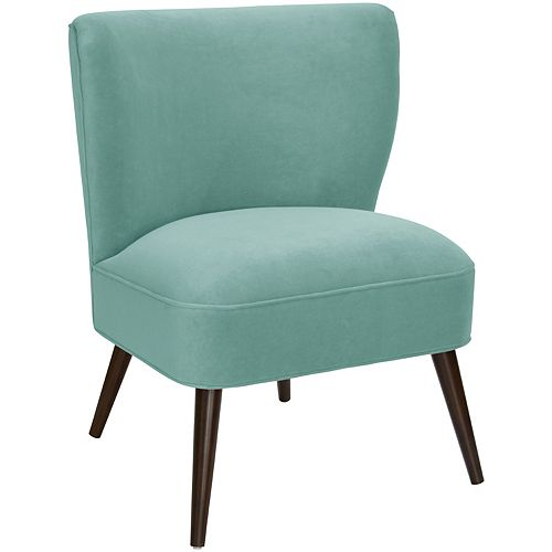 Contemporary Slipper Velvet Accent Chair in Green with Solid Pattern