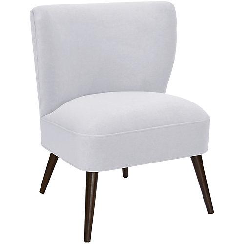 Chaise rembourrée en velours blanc