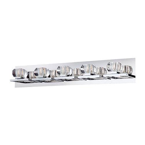HDG Collection Casa, barre déclairage de salle de bains chrome et transparente à 5ampoules