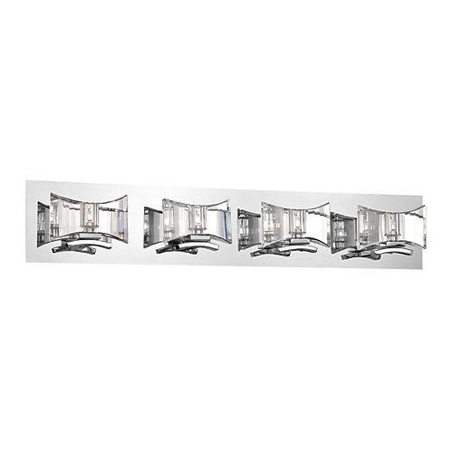 HDG Collection Uzo, barre déclairage de salle de bains chrome et transparente à 4ampoules