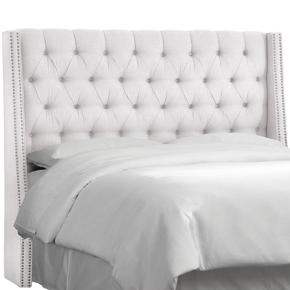 Skyline Furniture California King Nail Button Tufted Wingback Headboard In Twill White