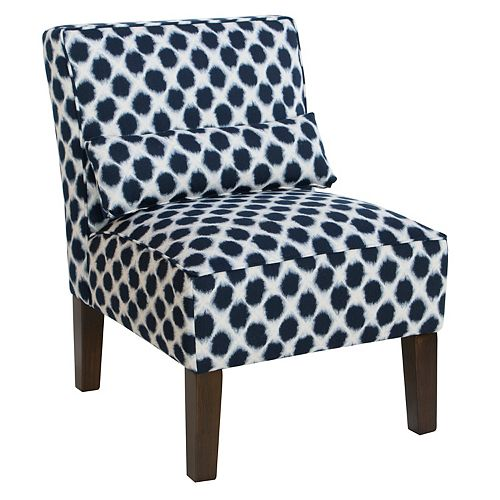 Contemporary Slipper Accent Chair in Blue with Geometric Pattern