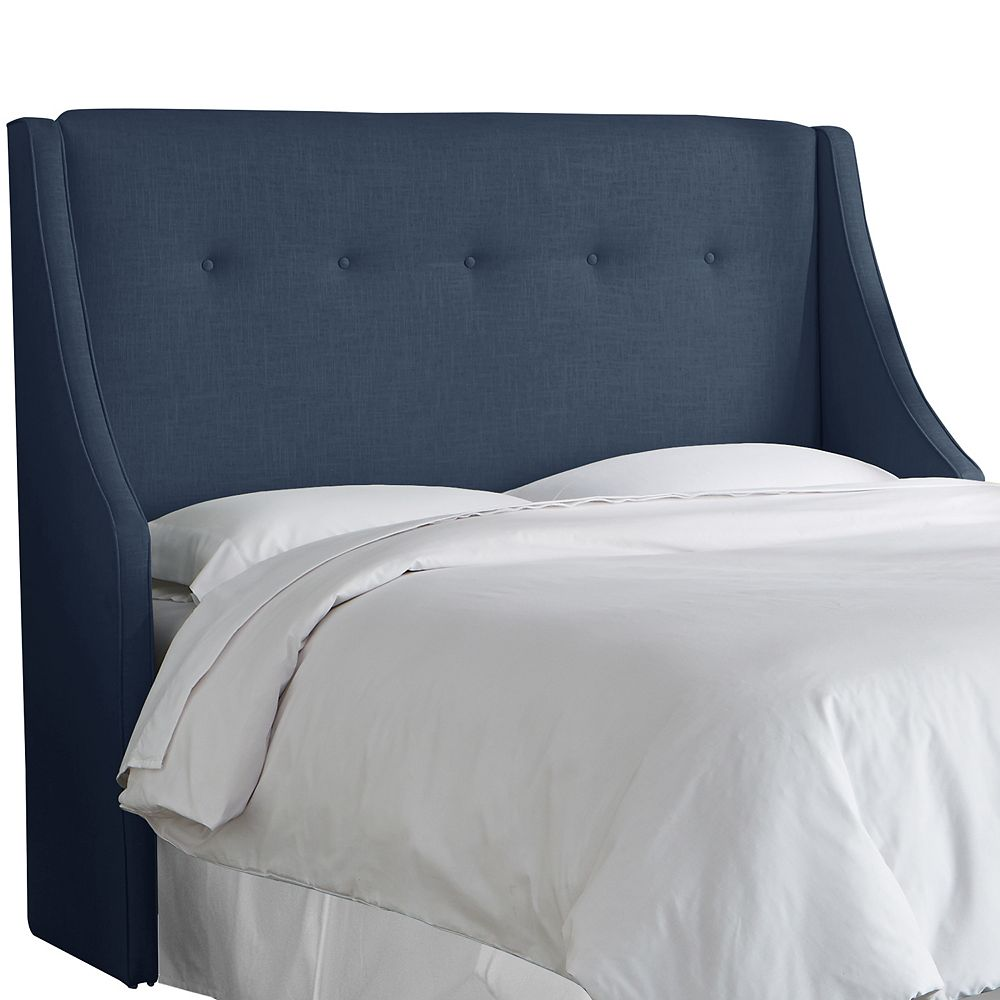 Skyline Furniture California King Button Tufted Wingback Headboard In Linen Navy