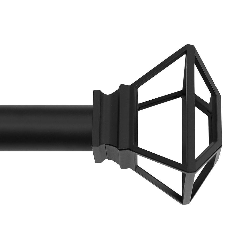 Home Decorators Collection Tringle à rideau télescopique simple qualité supérieure 36-72 po. 1 po. Dia. en noir avec embouts cage élémentaire