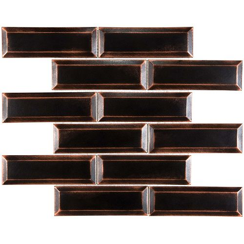 Enigma 2x6 Oil Rubbed Bronze Bevelled Metal Mosaics