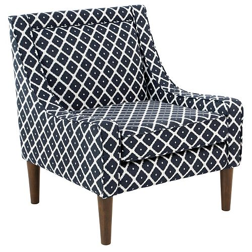 Contemporary Arm Chair Accent Chair in Blue with Geometrical Pattern