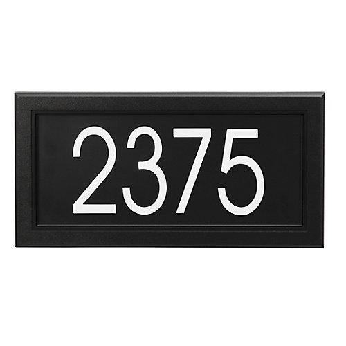 Plaque d'Adresse Moderne Rectangulaire, Noir