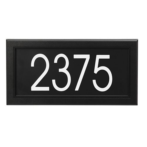 Modern Rectangular Address Plaque, Black