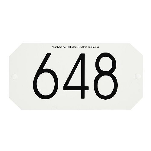 Octogonal Address Plaque, White