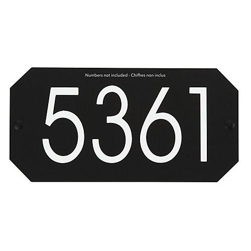 Plaque d'Adresse Octogonale, Noir