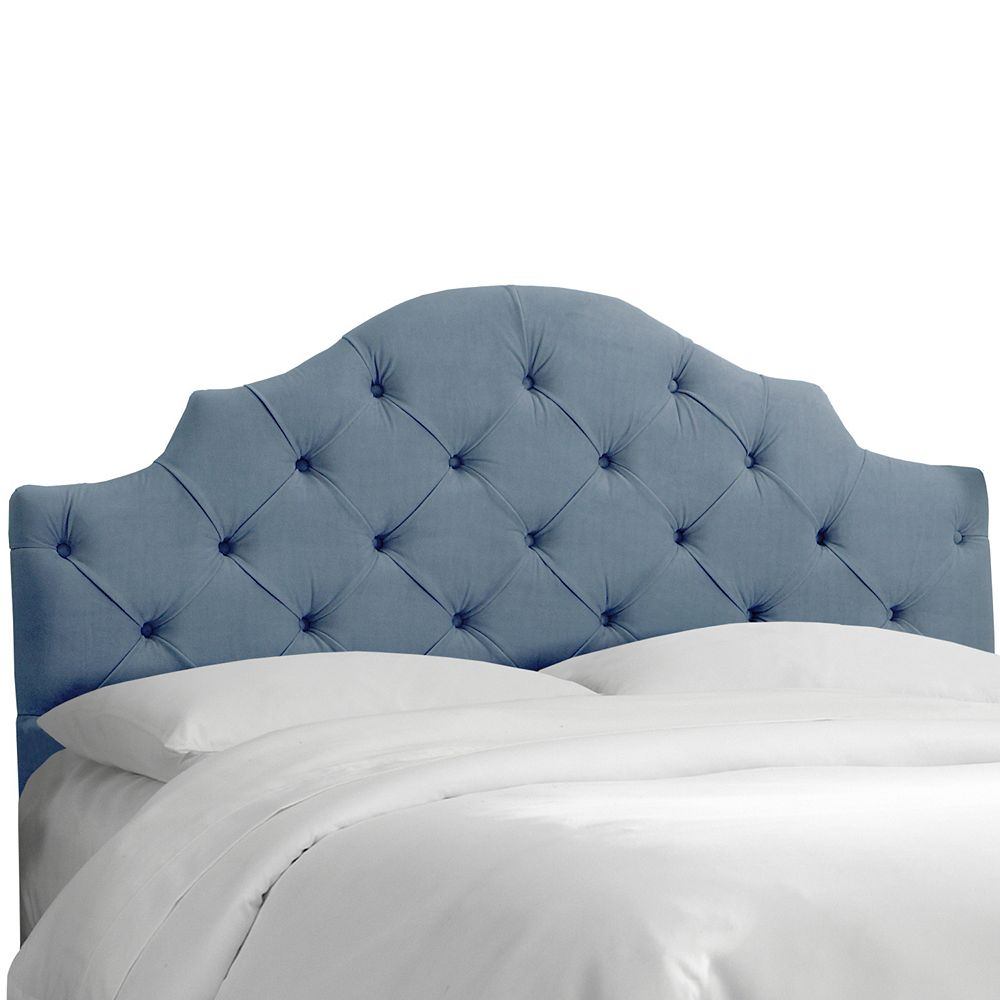 Skyline Furniture King Tufted Notched Headboard In Velvet Ocean