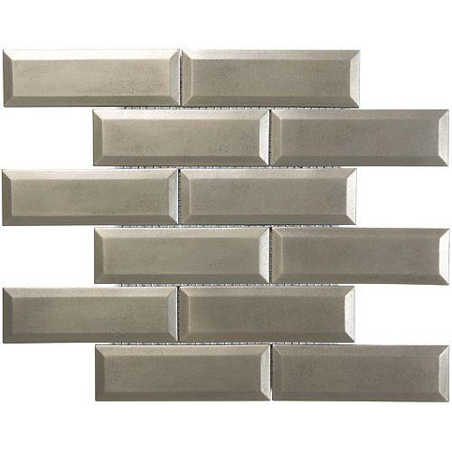 Enigma 2-inch x 6-inch Nickel-Bevelled Brick Metal Mosaic Tile