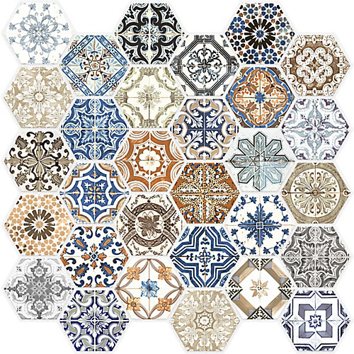 Marrakesh Glass Hexagon Mosaics
