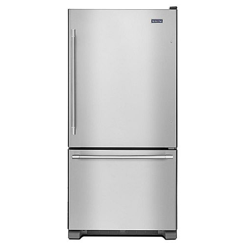 Maytag 33-inch W 22 cu.ft. Bottom Freezer Refrigerator in Fingerprint Resistant Stainless Steel - ENERGY STAR®