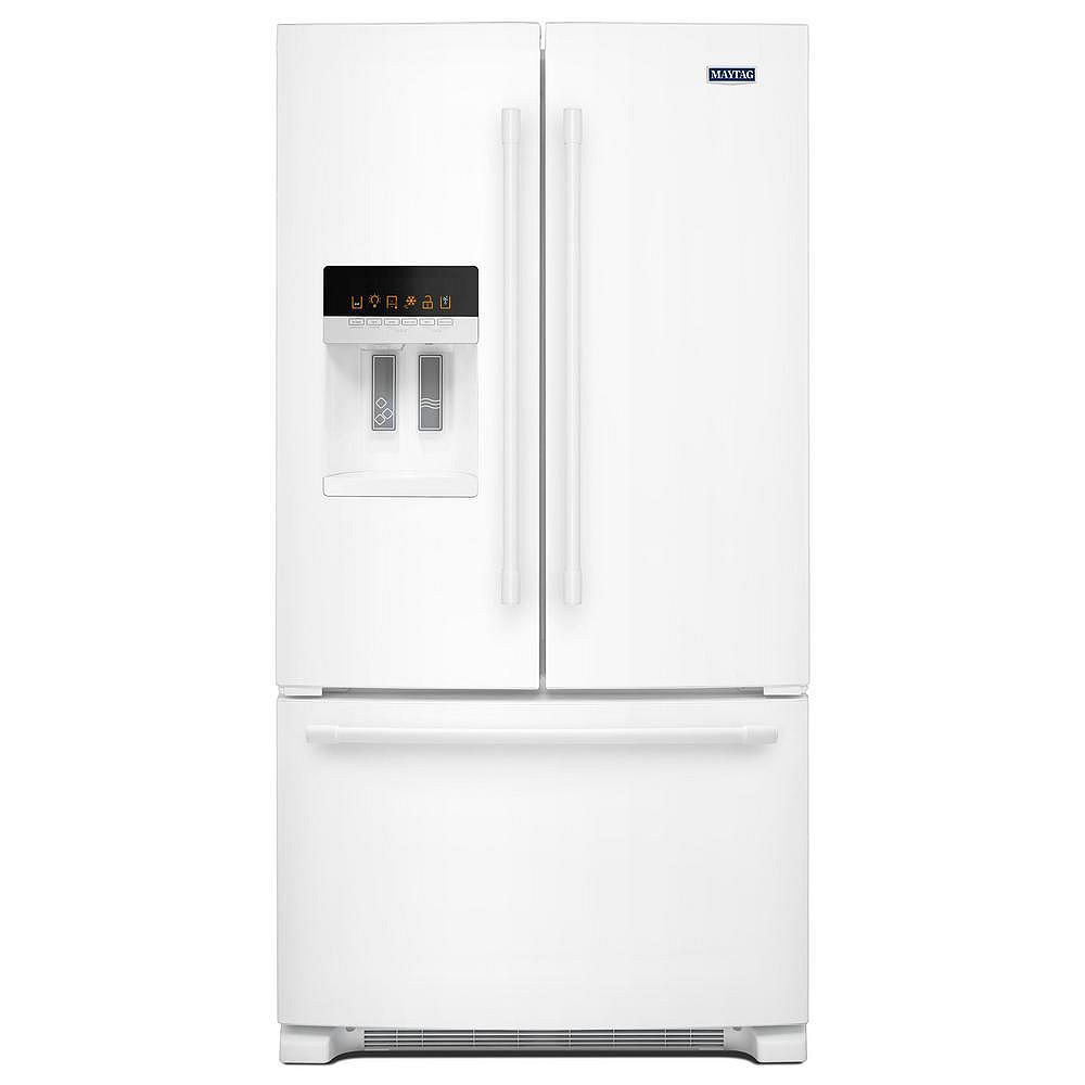 Maytag 36 Inch W 25 Cu Ft French Door Refrigerator In White Energy Star The Home Depot Canada