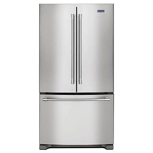 Réfrigérateur à porte française de 36 po W 20 pi3 en acier inoxydable résistant aux empreintes digitales, profondeur du comptoir - ENERGY STAR