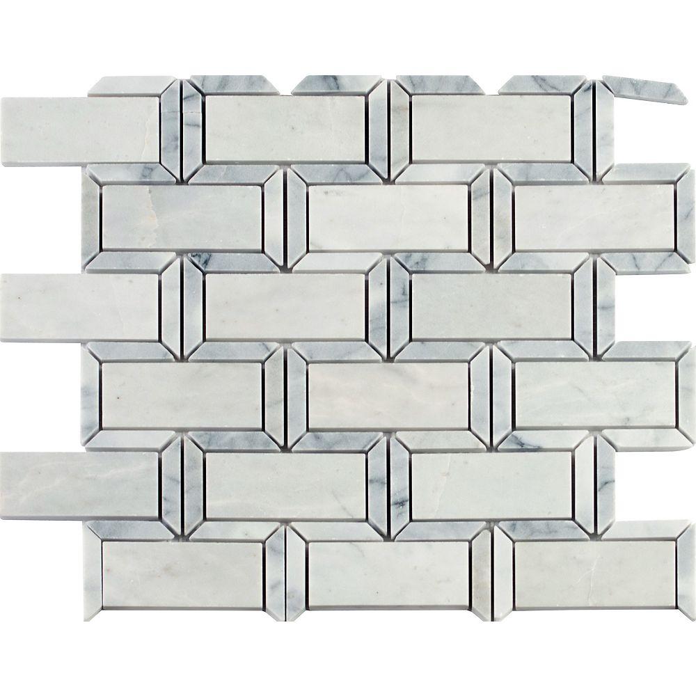 MSI Stone ULC Framework 12. in x 12 in. Polished Marble Mesh Mounted Mosaic Tile