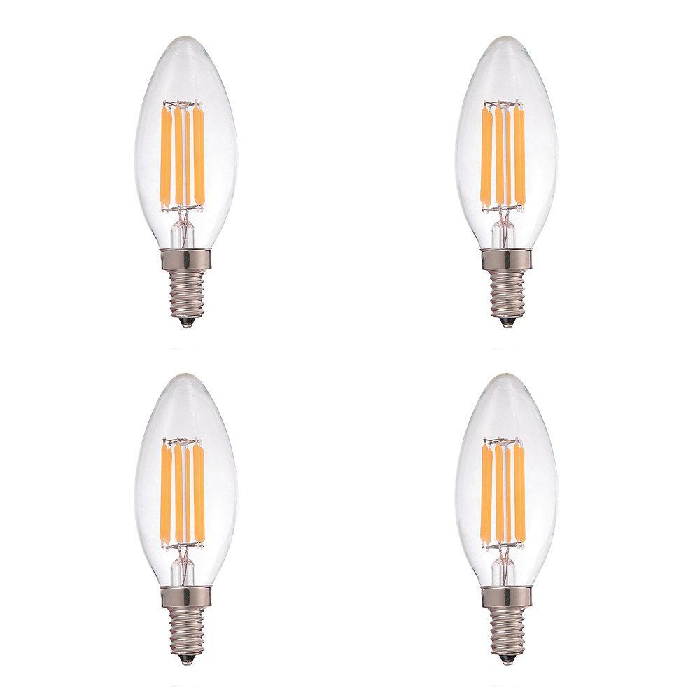 Strak LED 60W Equivalent Clear Filament 2700K Candelabra E12 CRI90 ES Dimmable LED Light Bulb ENERGY STAR (4-Pack)