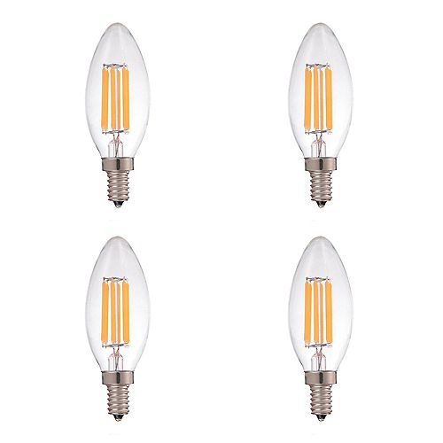 60W Equivalent Clear Filament 2700K Candelabra E12 CRI90 ES Dimmable LED Light Bulb ENERGY STAR (4-Pack)